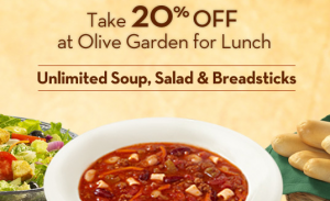 Olive Garden Printable Coupon For 20 Off Lunch