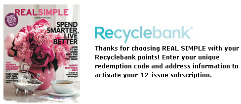 FREE All You Magazine, Real Simple and More Subscriptions with Recyclebank Points