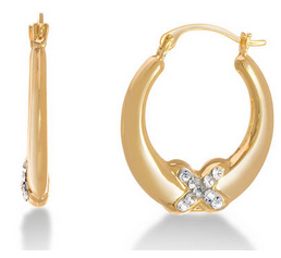 Gold Hoop Swarovski Earrings