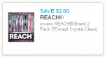Reach toothbrush coupon 2-pack