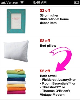 Target towel mobile coupon