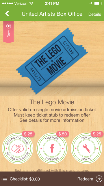Ibotta Lego movie offer