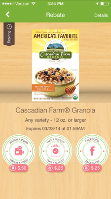 Ibotta Matchup | Save up to $1.75 on Cascadian Farm Granola