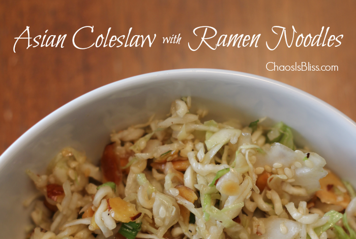 Asian Coleslaw with Ramen Noodles recipe. A healthy recipe, tangy and crunchy, that will feed a crowd | ChaosIsBliss.com