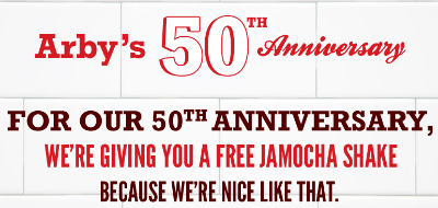 Arby's Free Jamocha Shake