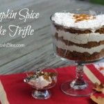 Layered Pumpkin Spice Cake Trifle, it's super easy but looks like it took you all day to make. Perfect recipe for late summer into Fall!