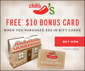 Chili's | FREE $10 Gift Card with $50 Gift Card Purchase