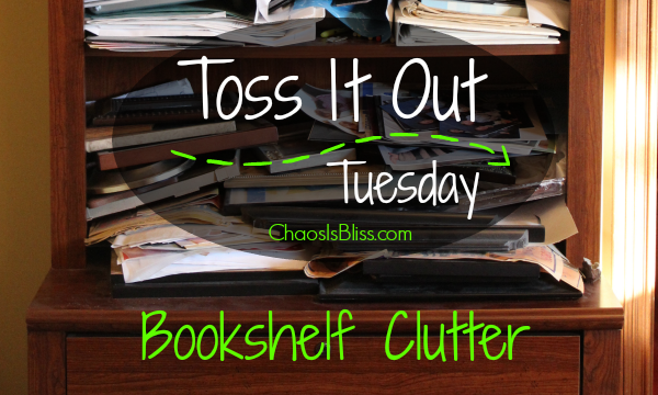 Toss It Bookshelf Clutter horiz