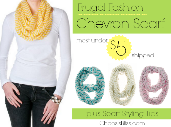 Fashion can be found on a frugal budget. I found these affordable chevron scarves, and share style tips for scarf tying and scarf hangers.