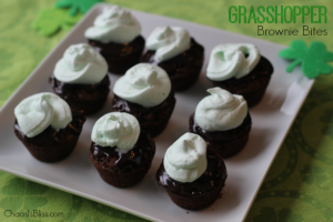 Easy and Quick Grasshopper Brownie Bites recipe, a yummy St. Patricks Day treat.