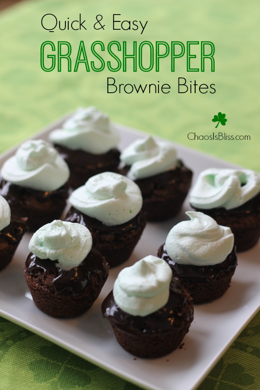Quick and Easy Grasshopper Brownie Bites recipe, a yummy St. Patricks Day treat.