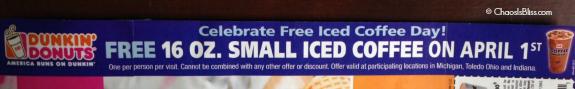 Dunkin Donuts free iced coffee