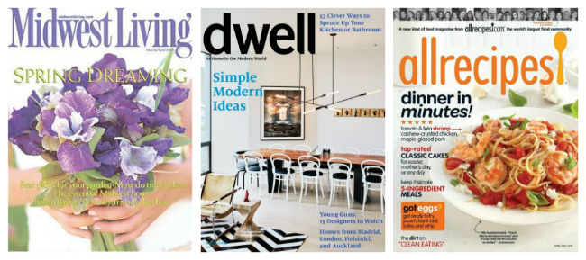 Midwest Living, Dwell and Allrecipes Magazines $4.99 After Coupon
