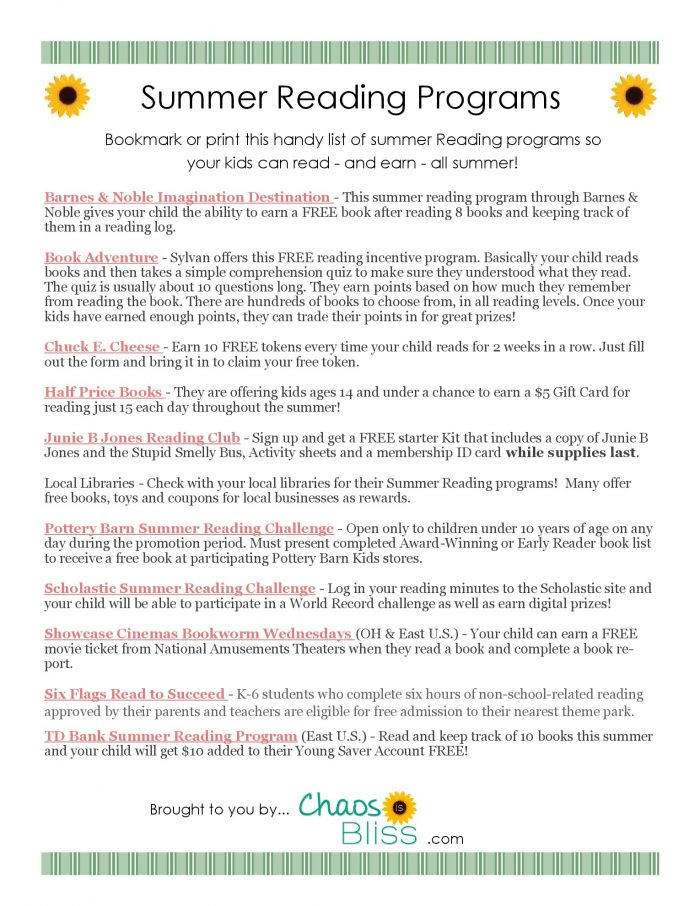 Saving this Summer Reading Programs free printable so my kids can continue learning through reading, and earn rewards too!