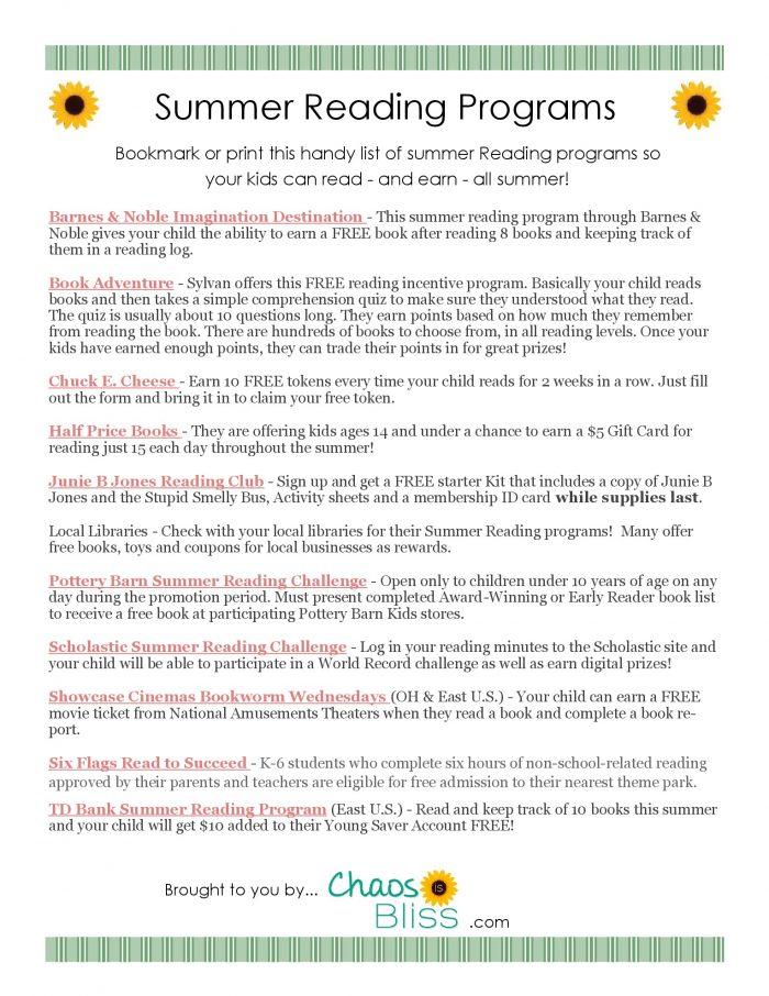 summer reading programs free printable