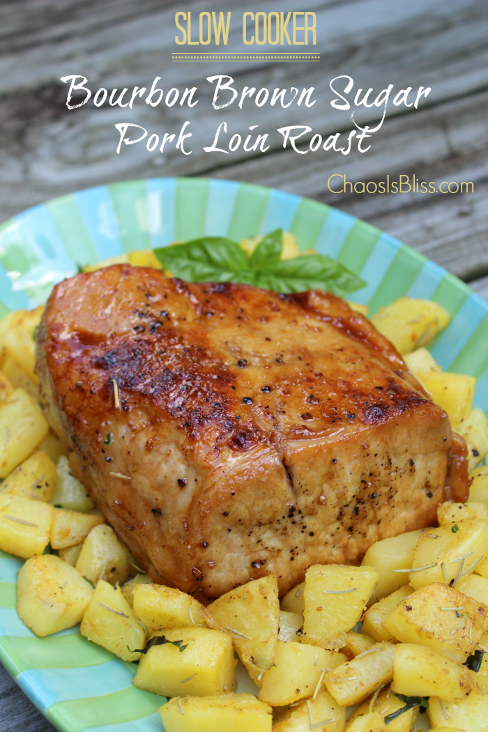 A slow cooker pork recipe to impress! Perfectly roasted pork loin with a bourbon brown sugar glaze.