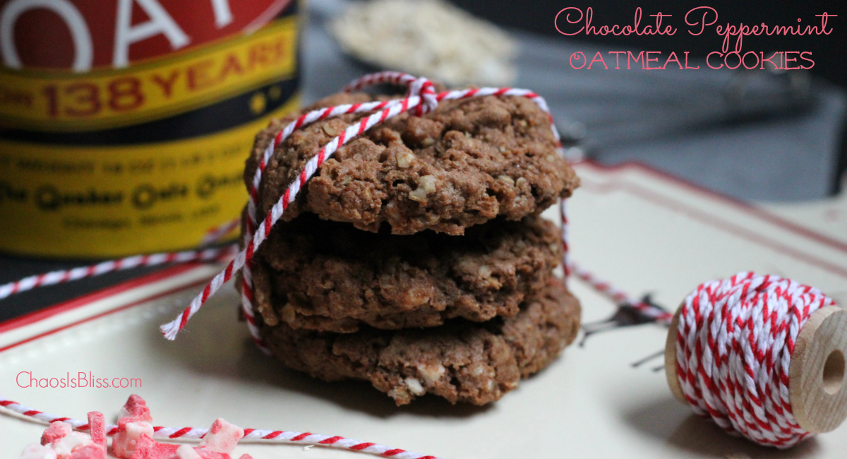 Chocolate Peppermint Oatmeal Cookies are a great Christmas cookies recipe using oats, cocoa and peppermint baking chips.