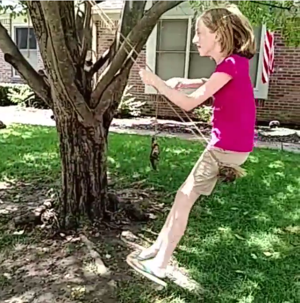 Make a tree swing with a log and rope