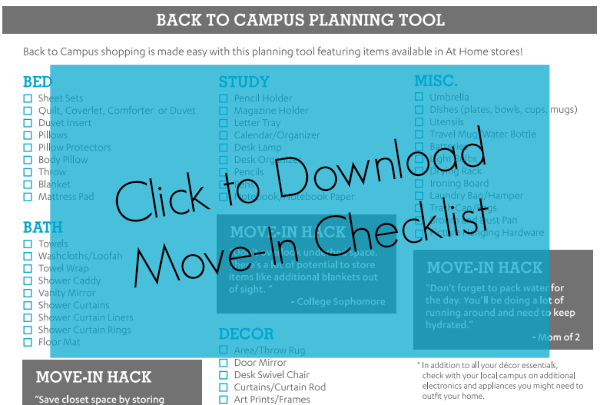 Print this handy move-in checklist for college dorms!