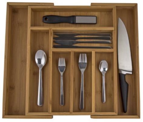 I love my stylish and sustainable bamboo kitchen drawer organizer.