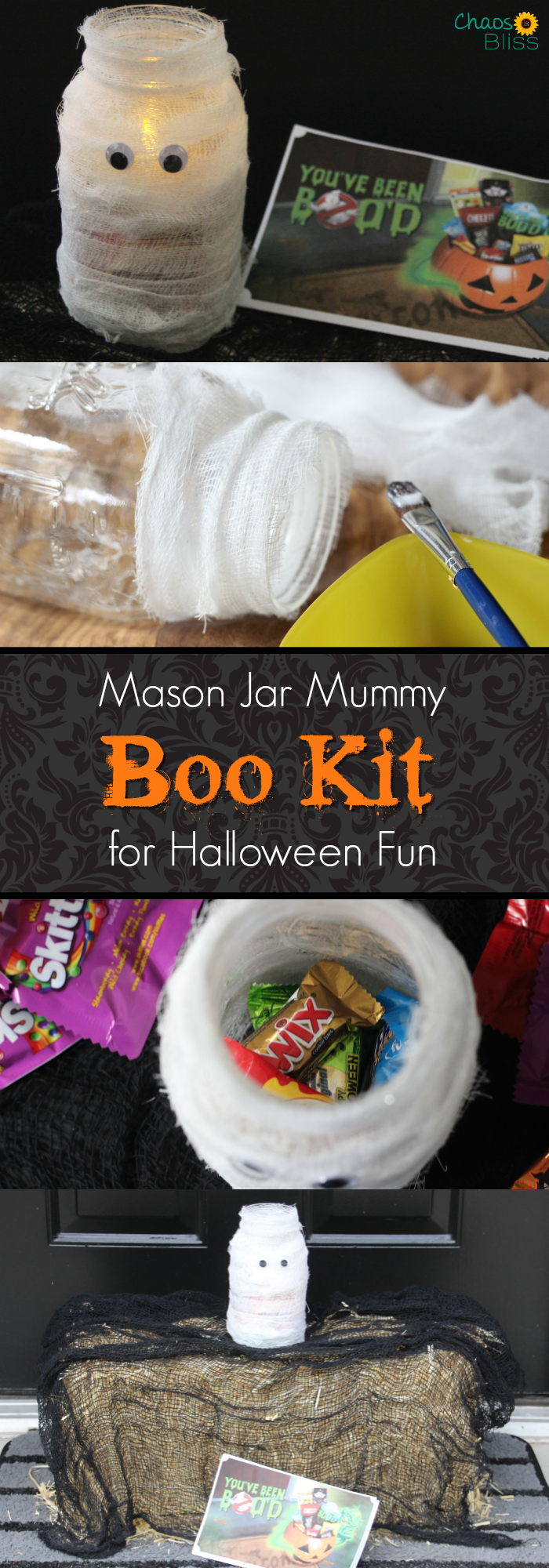 Here's an easy Mason jar craft for Halloween, making a BOO Kit for neighborhood fun!