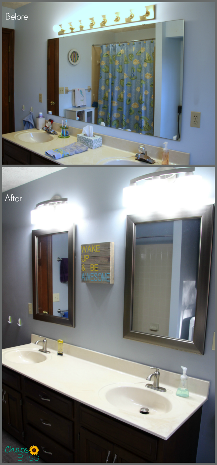 Here are our bathroom remodel before and after photos! Plus, three updates to our 1980s bathroom design that fit our frugal budget!