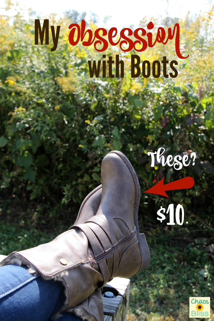 I have a serious obsession with boots. I'm all about frugal fashion, and I got these brand new boots for just $10!