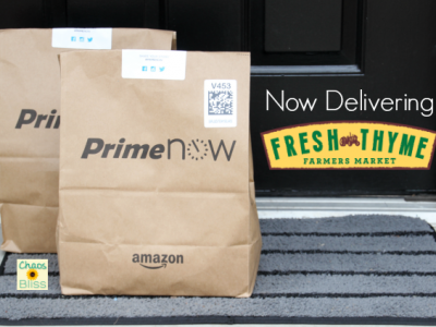 You can now have Prime Now Fresh Thyme grocery delivery in the Indy area, and soon in many more cities! Here's a Prime Now Fresh Thyme delivery review.