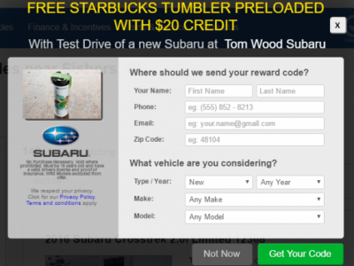 Subaru Starbucks offer