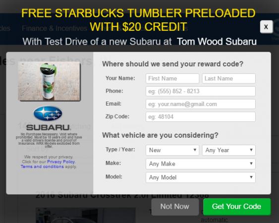Subaru Starbucks offer