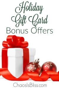 Here's a huge list of Holiday Gift Card Bonus Offers that you don't even have to wait until Christmas to take advantage of!