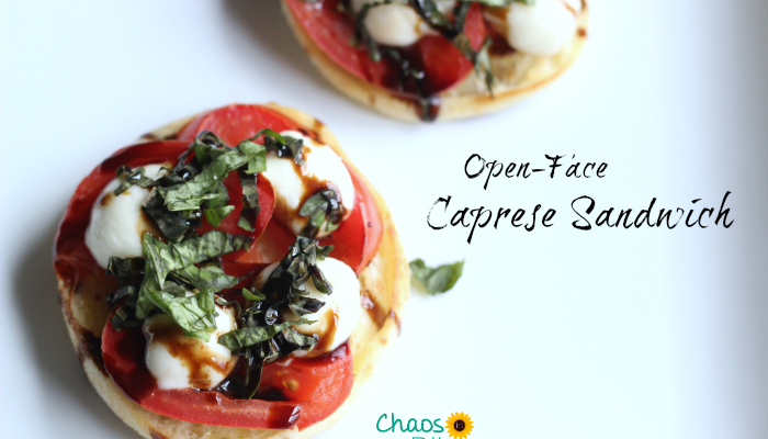 If you love caprese salad, you must try this open-face Caprese Sandwich, a vegetarian recipe using English muffins!