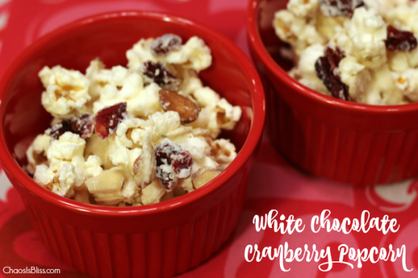 Looking for an easy salty-sweet snack mix? Try this White Chocolate Cranberry Popcorn recipe.