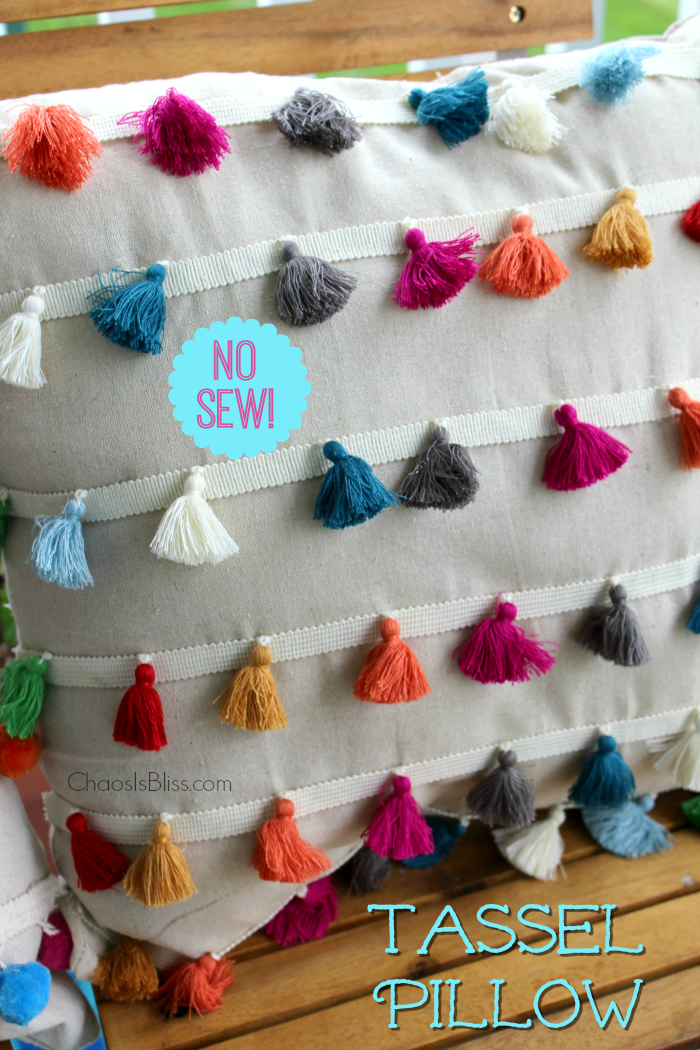 You won't believe how easy it is to make this DIY No Sew Tassel Pillow!
