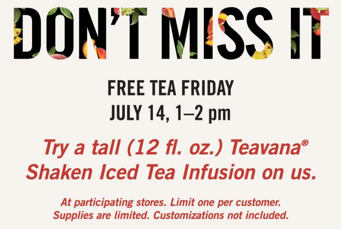 Starbucks free tea Friday