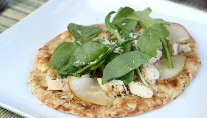 Arugula Flatbread with Honey Lime Dressing