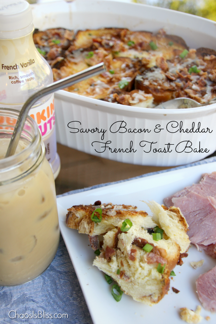 Savory Bacon and Cheddar French Toast Bake will be your go-to easy brunch recipe when you have a pitch-in, and it's also delicious as a side for dinner!