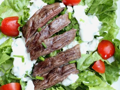 This summer grilling recipe, Black & Blue Salad has an easy, 3-Ingredient Homemade Blue Cheese Dressing recipe that's delicious and healthy!