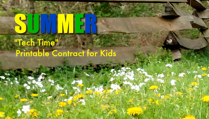 If you try to monitor your kids' usage of electronics on summer break, check out this free printable Summer Tech Time contract for kids!