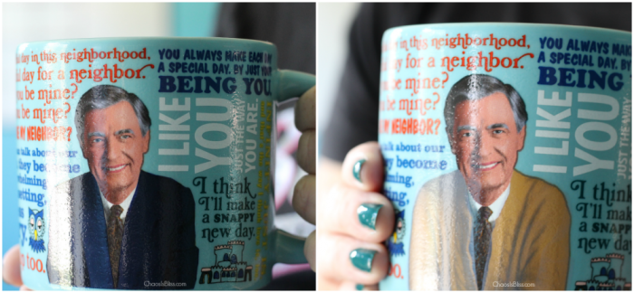 Mister Rogers Color Changing Mug before and after