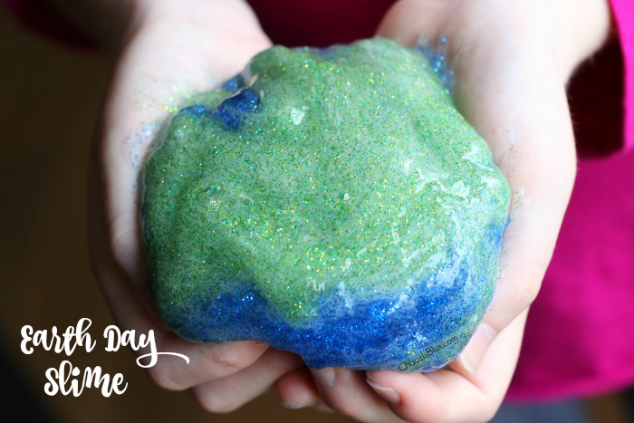 Here's a fun DIY Earth Day slime you can make with your kids, with bold earth-inspired colors and lots and lots of GLITTER!