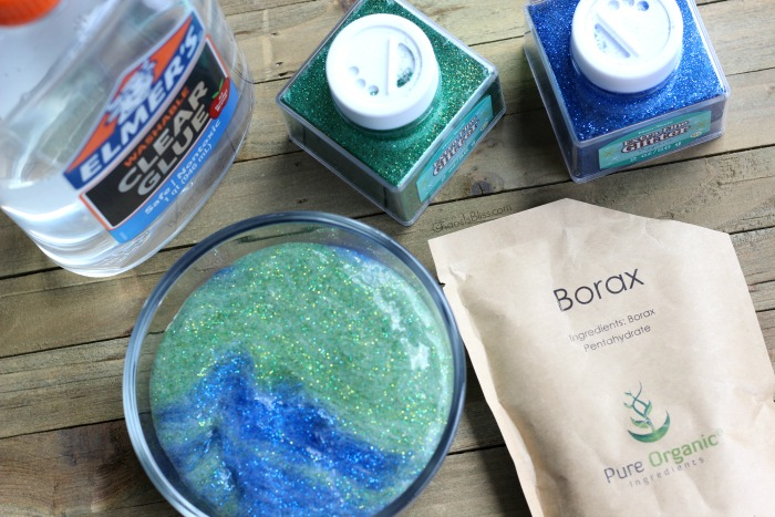 Here's a fun DIY Earth Day or Earth-inspired slime you can make with your kids, with bold colors and lots and lots of GLITTER!