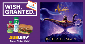 Free Aladdin movie ticket from Subway