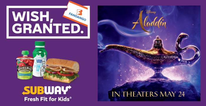 Free Aladdin movie ticket from Subway