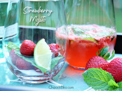 There could not possibly be a more refreshing summer adult beverage than an ice cold Strawberry Mojito, made with freshly picked strawberries and homegrown mint.