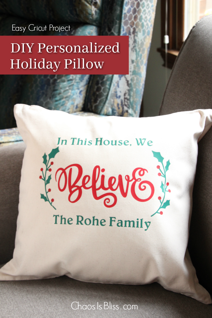 Creating your own unique holiday decor is made easy with this DIY personalized holiday throw pillow design, and the Cricut Easy Press!