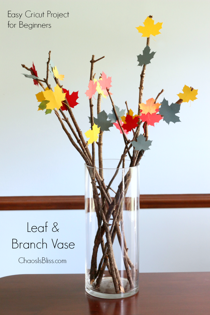If you have a brand new Cricut and you're looking for an easy Cricut project for beginners, this Leaf & Branch Vase is the perfect craft!