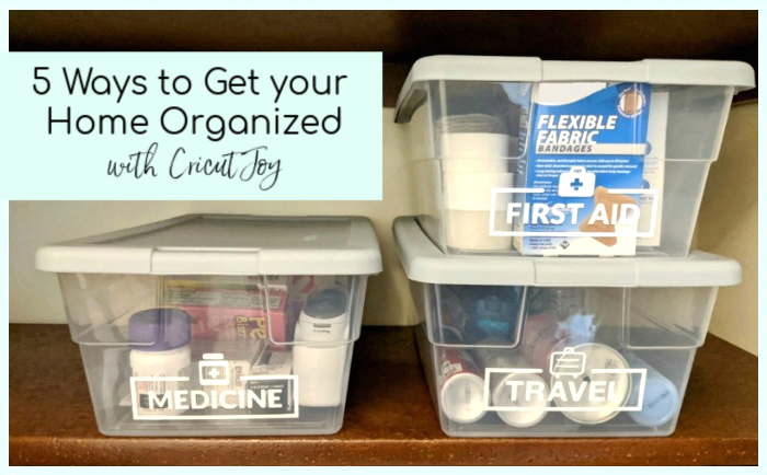 Organizing a medicine cabinet is one of those mindless tasks that seems to slip down the to-do list. Cricut Joy can make organizing easy and fun, and I've got 5 ways to get your home organized with Cricut Joy!
