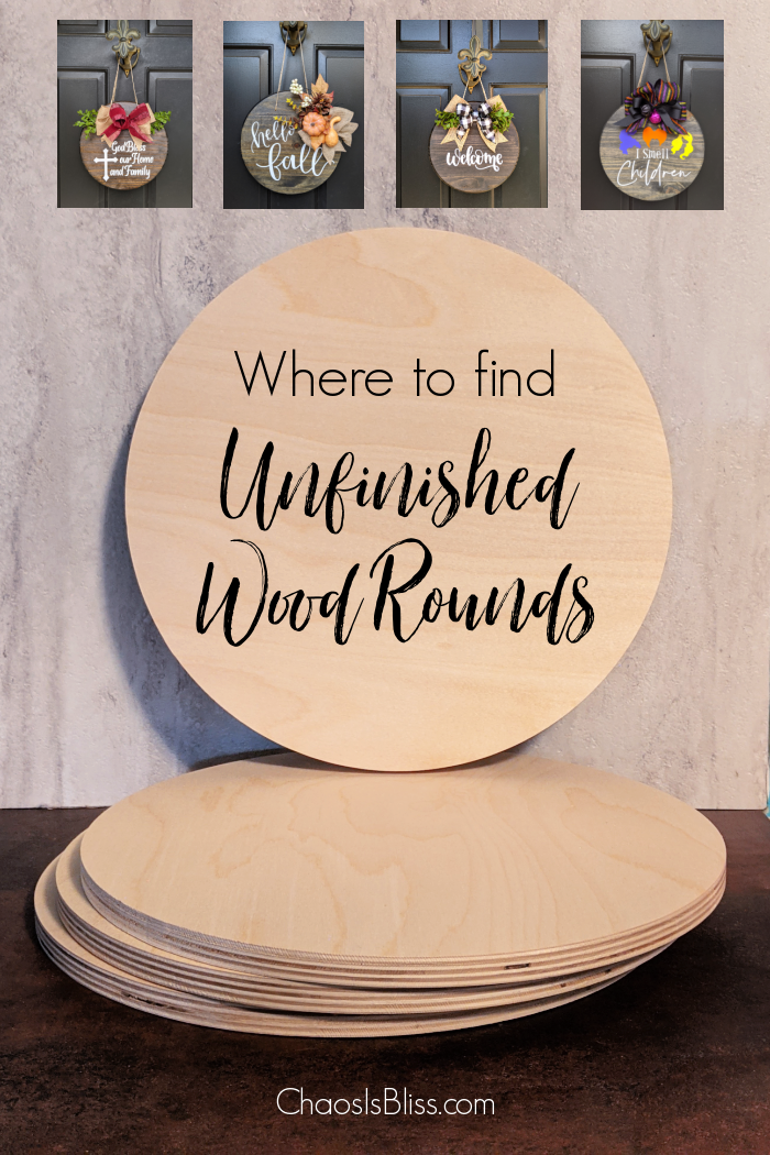 Where to find unfinished wood rounds, and wood round options.