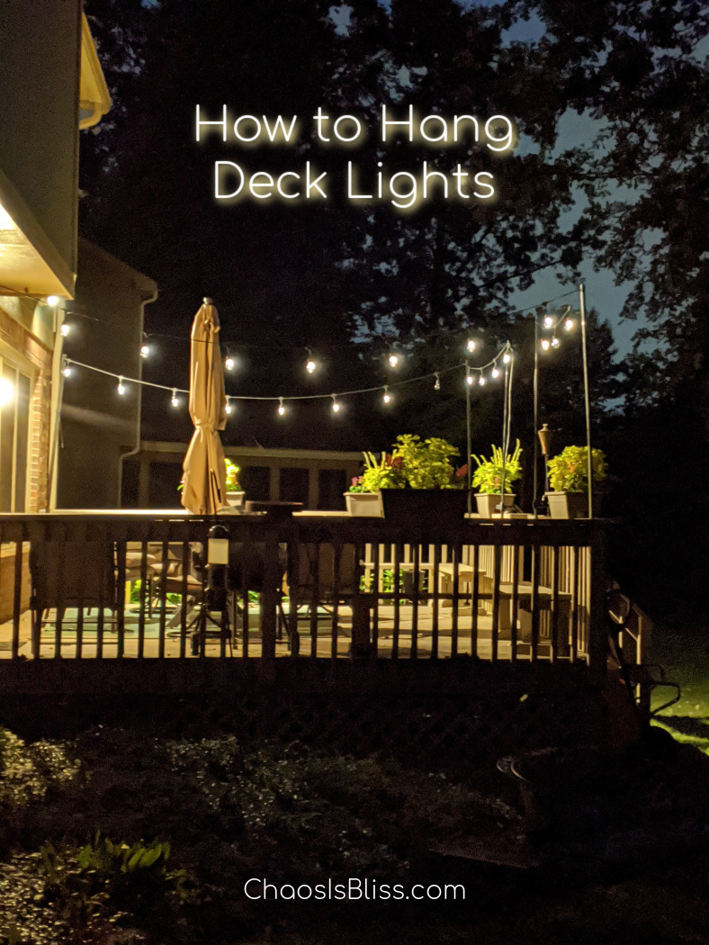 When you want the beautiful look of stringed lights in your backyard but you have no idea how to hang string lights on a deck, follow these easy DIY steps!